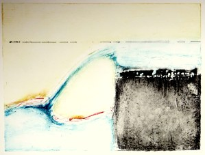 Weir, collograph print on paper